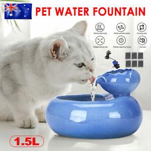 1.5L Dog Water Dispenser Electric Pet Cat Fountain Drinking Bowl Filter Ceramic