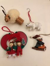 Lot Of 4 Christmas Ornaments Sheep, Polar Bear, Penguin & Heart Children