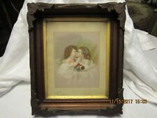 VICTORIAN ERA FRAME WITH BEAUTIFUL PRINT APPLIED CARVING WOOD BACK MUST SEE!