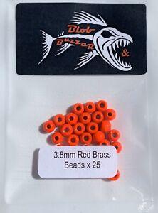 25 X 3.8mm Red Brass Beads