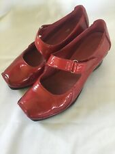 CLARKS Active Air RED Patent LEATHET Low Wedge MARY JANE Shoes SIZE 4