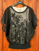 Coast NEW Womens Black Floral Mesh Overlay Top Blouse Plus Sizes 6 to 26