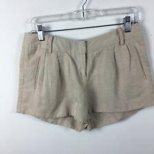 bebe Size 4 Shorts Beige Linen Short Front Zip Pockets Unlined