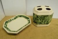 Vintage Toothbrush Holder and Matching Soap Dish ~ Greenbrier ~ Ceramic
