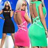 By Alina Mexton Damen Minikleid Longshirt Tunika Bodycon Kleid Rückenfrei XS-M