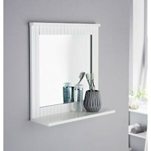 Stylish Maine Crisp White Finish Wall Mirror Elegant Choice For Your Bathroom