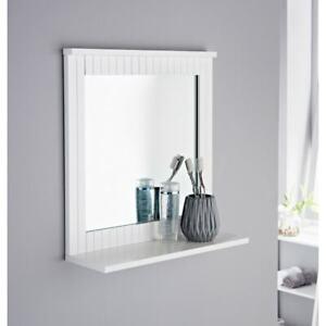Stylish Maine Crisp White Finish Wall Mirror Elegant Choice For Your Bathroom