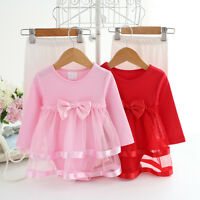 Infant Baby Girl's Princess Tutu Bodysuit Romper Lace Bow Dress 0-24M Dress New