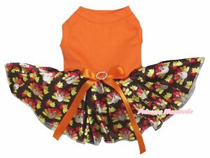 Thanksgiving Plain Orange Cotton Top Brown Turkey Tutu Pet Dog Puppy Dress