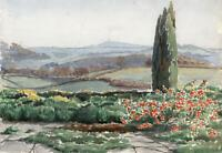 ENGLISH LANDSCAPE POSSIBLY GLASTONBURY TOR Watercolour Painting c1950