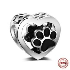 💖💖 Dog Cat Paw Prints Love Heart Genuine 925 Sterling Silver Charm Bead 💖💖