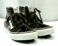 Vans Sk8 Hi Womens Shoes Slim Plaid Classic Orignals Sneakers T374 Brown Sz 7.5