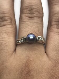 Sterling Silver 925 Cultured pearl Starfish Ring Crystals Accents Size 8