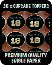 30 X 18TH HAPPY BIRTHDAY BLING EDIBLE CUPCAKE TOPPERS CAKE RICE PAPER  600