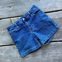 Tween Girls Faded Glory Blue Jean Denim Shorts Adjustable Waist Stretchy Size 10