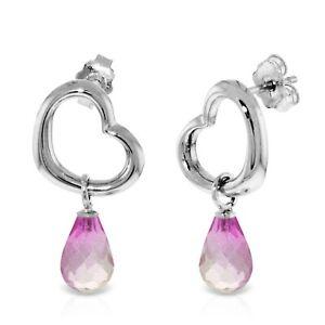 4.5 Carat 14K White Gold Heart Gemstone Earrings w/ Dangling Natural Pink Topaz