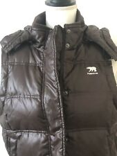 Predator Women's Down Feather Puffer Hooded Vest Large Dark Brown Pre-Owned