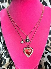 Betsey Johnson Vintage NYC Taxi Girl Clear Lucite Heart Lips Kiss Mouth Necklace
