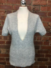 Jane Norman Mohair Mix Short Sleeve Grey Chunky Jumper Size 10 Cosy Layering