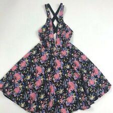 Lucca Couture Fit and Flare Black Floral Dress Sz XS