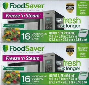 2 Boxes FoodSaver Freeze 'N Steam Microwave Cooking Bags 16 Count Each = 32