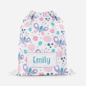 Personalised Cartoon Butterfly Children's PE Swimming School Kids Drawstring Bag