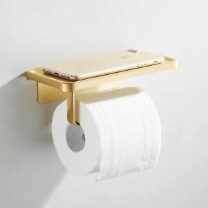 Aluminum Brushed Gold Toilet Paper Holder Wall Mounted Paper Roll Holder Rack