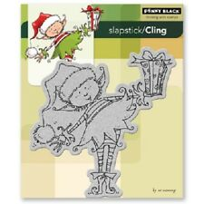 PENNY BLACK RUBBER STAMPS SLAPSTICK CLING LITTLE ELF PRESENT NEW cling STAMP