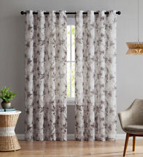 """Set of Two (2) Sheer Window Curtain Panels: Grommets, Brown Beige Floral 84""""L"""