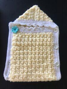 HANDMADE CROCHET Warm Sack Photo Prop Sleeping Bag Cozy Preemie Reborn Baby Doll