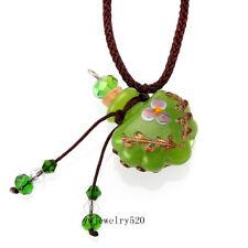 Murano Glass GREEN oil ashes urn bottle cork pendant vial Necklace Adjustable