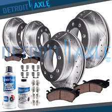 SRW 4x4 Ford F-350 Super Duty Front Rear DRILLED Brake Rotors + Ceramic Pads 4WD