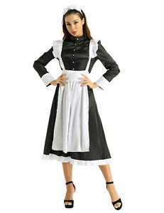 Women Satin Pilgrim Dress Victorian Maid Costume Colonial Cosplay with Apron