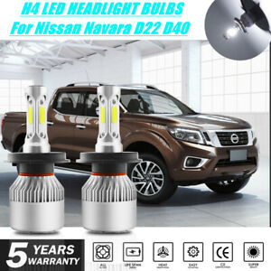 For Nissan Navara (2017) S2 H4 White LED Headlight Bulb Upgrade Kit D22 D40 4X4