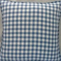 A 16 Inch Cushion Cover In Laura Ashley Gingham Blue Fabric