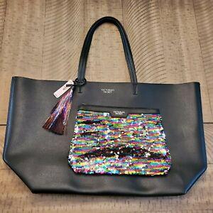 Victoria Secret Black Faux Leather Tote Bag and Rainbow Sequin Clutch