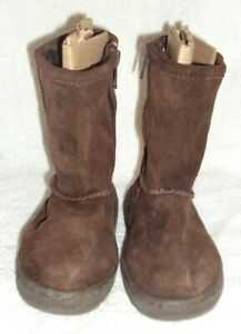 Toddler Girls Brown CHEROKEE Suede Boots Shoes Size 7 Faux Fur