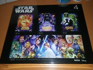 Star Wars Original Trilogy Jigsaw Puzzle 4 Pack Disney NIB Sealed New Hope Jedi