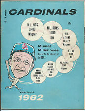 St Louis Cardinals, 1962 Yearbook, Stan Musial on Front Cover, Decent