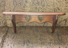 """Wooden shelf with hearts and plate groove 18 """" long 7"""" tall 4"""" deep"""