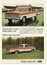 1969 FORD F-250 Brown White Pickup Truck VTG PRINT AD