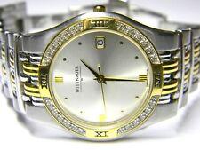 mens Longines Wittnauer 24 real diamonds two tone classic dress watch 12E09