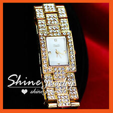 LADY WOMENS GOLD COLOUR made with Swarovski Crystal FASHION BRACELET WRIST WATCH