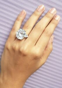 White Cushion Solid 925 Sterling Silver Three Stone Handmade CZ Ring Gift her