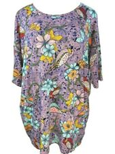 Lularoe Womens Irma Tunic 2XL 24/26 Pink Purple Birds Floral Top Plus Size NWT