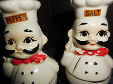 VINTAGE POT BELLY CHEF'S WITH BOW TIES SALT AND PEPPER SHAKERS MADE IN JAPAN
