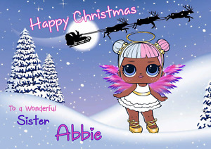 lol doll personalised A5 Christmas card Daughter sister Granddaughter Niece Name