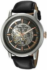 Kenneth Cole Automatic 21 Jewels Skeleton Black Leather Men's Watch 10026782