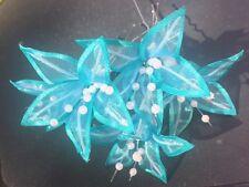 5 Wedding Prom  Shiny Aqua Blue Lily Flower Hair Pins Clips Grips handmade