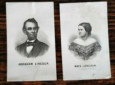 2 19TH C ABRAHAM & MARY TODD LINCOLN CDV CARD LITHO PRINT CARDS L. PRANG BOSTON